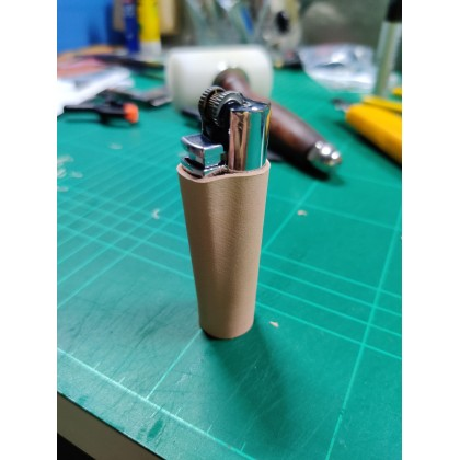 [ORIGINAL 100% HANDMADE] Veg Tan Leather Casing Protector for Clipper Large Lighter